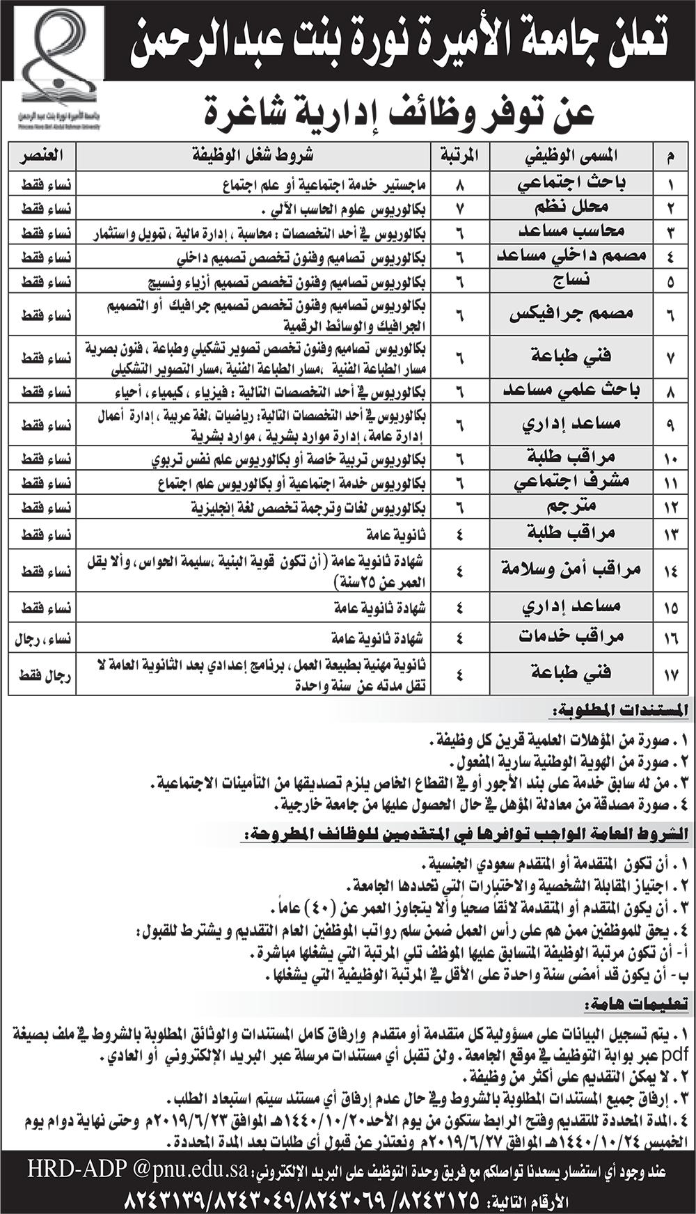 جامعة الأميرة نورة تعلن وظائف إدارية للرجال والنساء وظائف اليوم