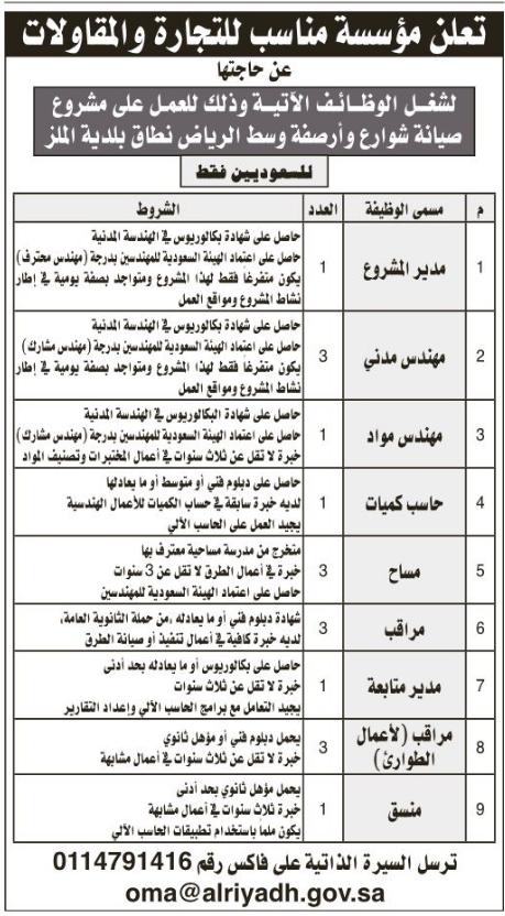 أمانة الرياض تعلن وظائف شاغرة بعقود أرصفة وصيانة وظائف اليوم