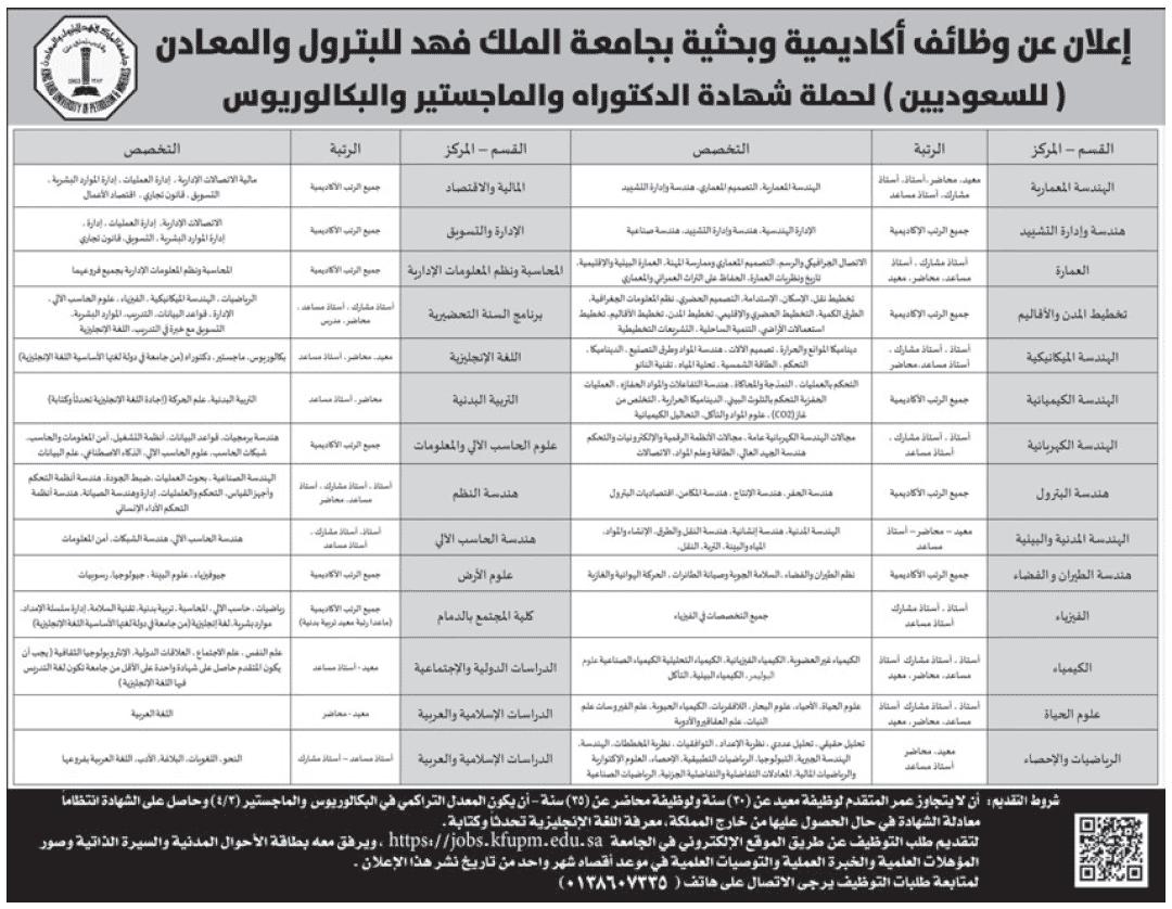وظائف أكاديمية وبحثية في جامعة الملك فهد للبترول والمعادن وظائف اليوموظائف اليوم
